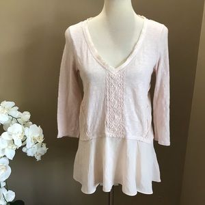 Anthropologie Meadow Rue Pink Ruffle Hem Top